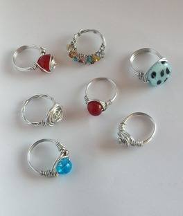 group of wire wrapped rings