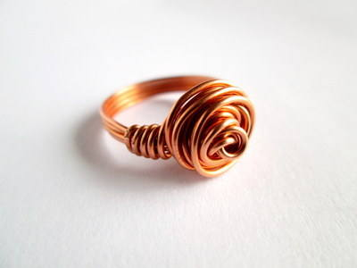 Copper Wire Rose Ring