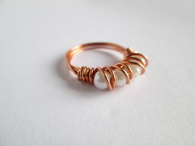 Beaded Pearl Wire Ring