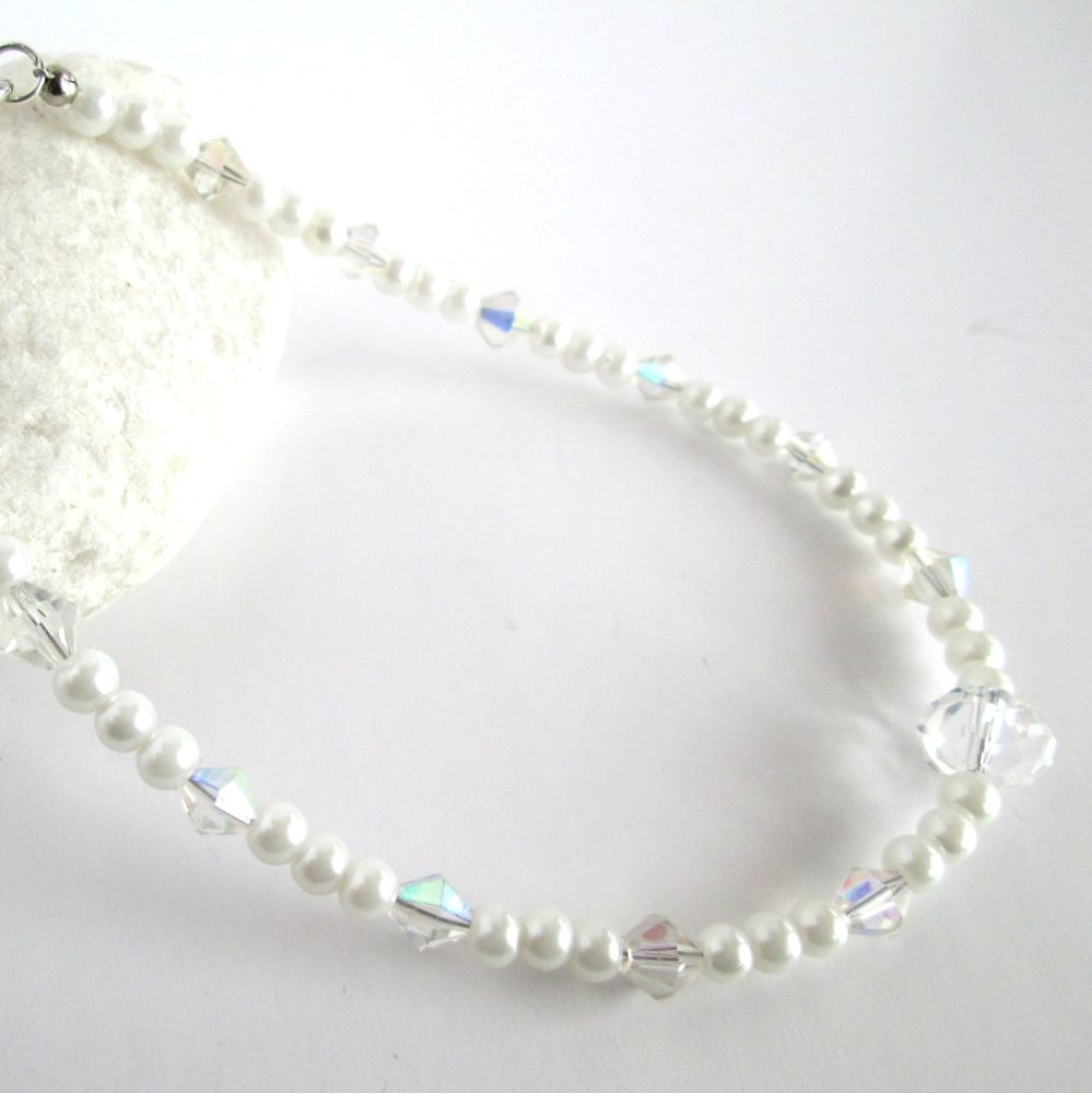 Pearl and Crystal Ankle Bracelet