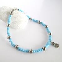 Blue and Silver Ankle Bracelet