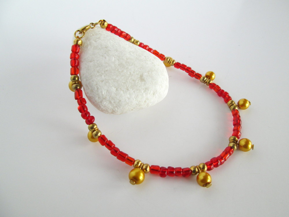 Red and Gold Beaded Anklet
