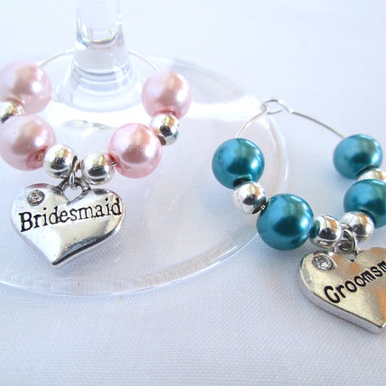 Pearl Wedding Wine Glass Charms