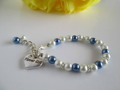 blue and white flower girl bracelet