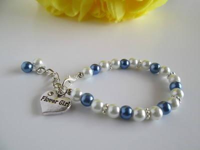 blue and white flower girl bracelet