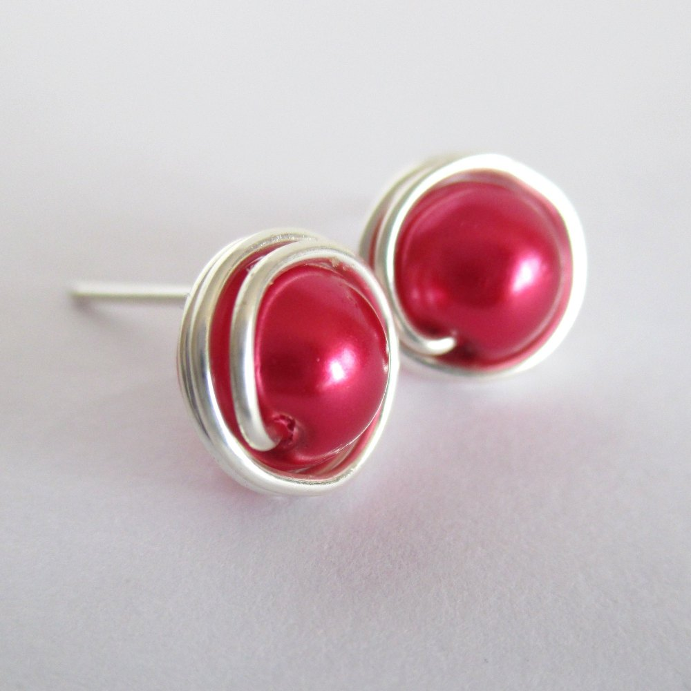 Hot Pink Wire Wrapped Pearl Earrings
