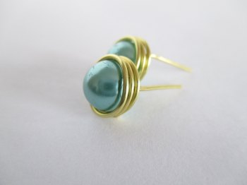 Green Wire Wrapped Pearl Stud Earrings