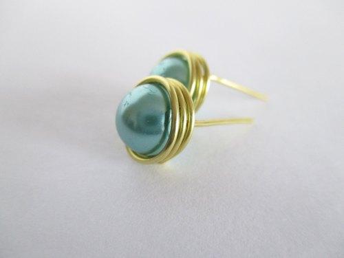 Green Wire Wrapped Pearl Stud Earrings