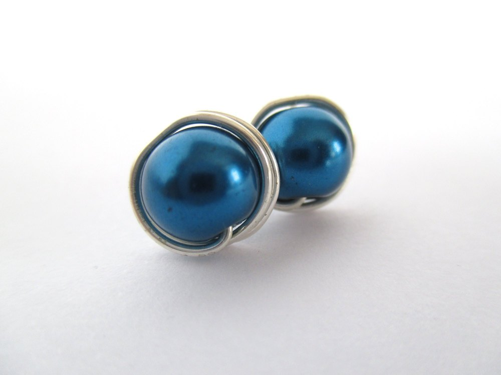 Blue Wire Wrapped Pearl Stud Earrings