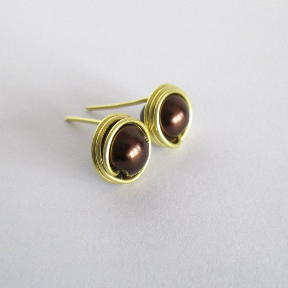 Brown Pearl Stud Earrings