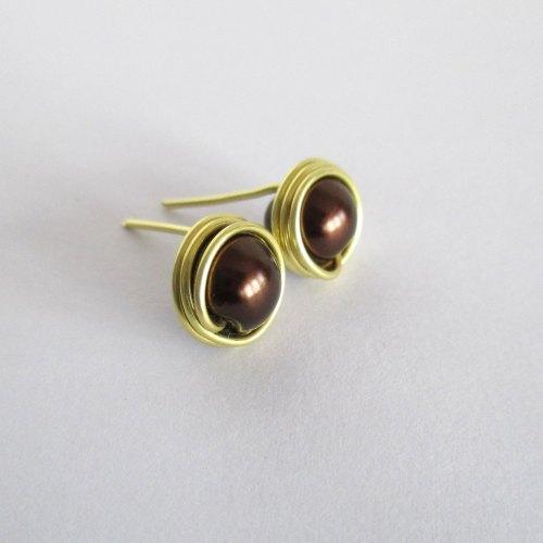 Brown Pearl Stud Earrings