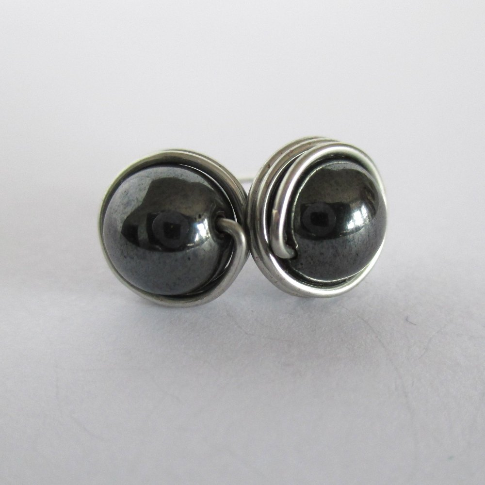 Hematite Wire Wrapped Stud Earrings