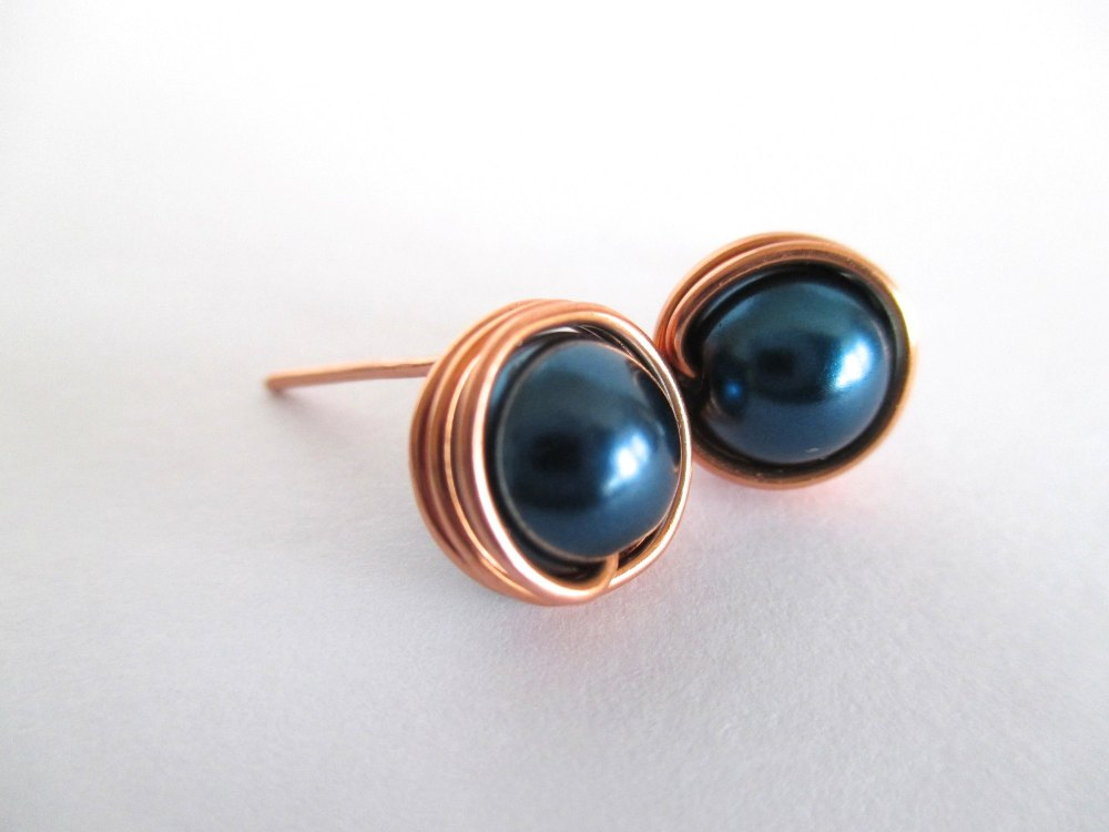 Steel Blue Stud Earrings