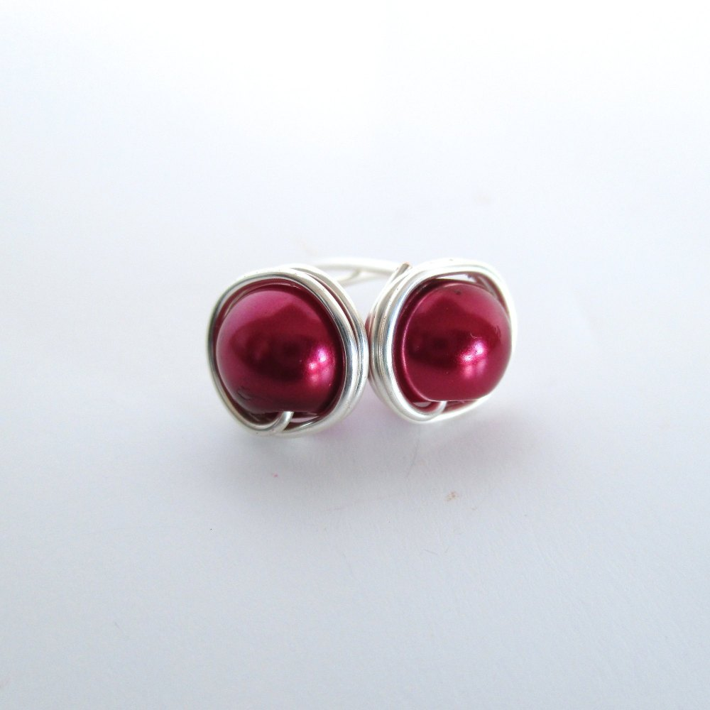 Burgundy Red Wire Wrapped Stud Earrings