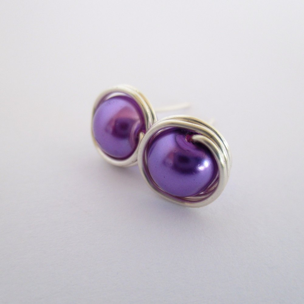 Lavender Wire Wrapped Stud Earrings