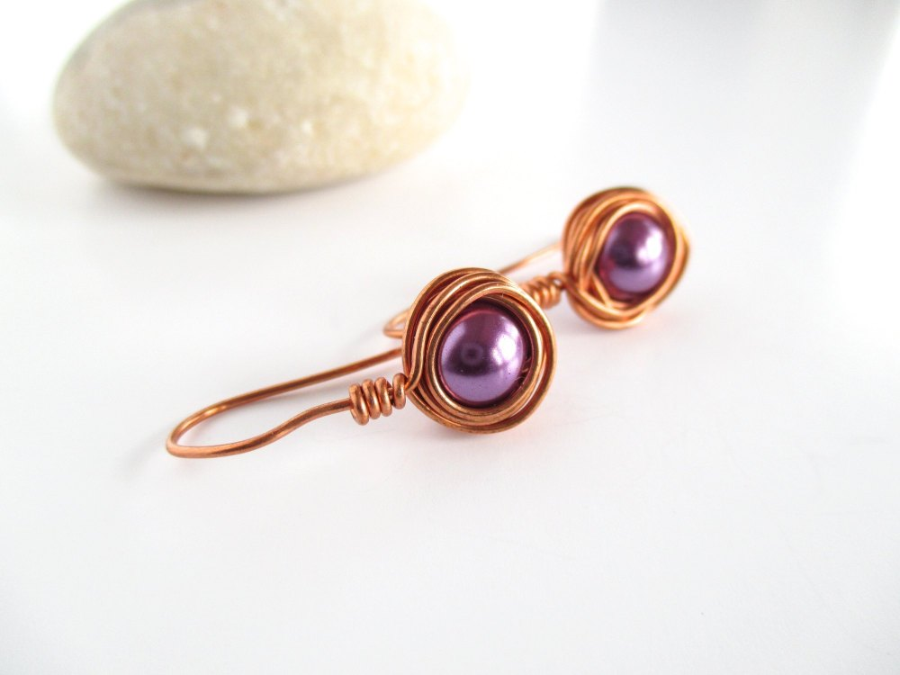 Purple Wire Wrapped Earrings