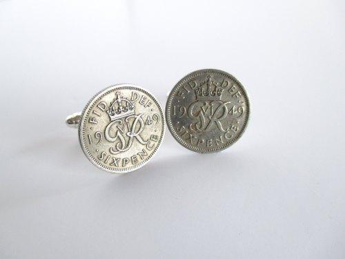 1949 Lucky Sixpence Coin Cufflinks