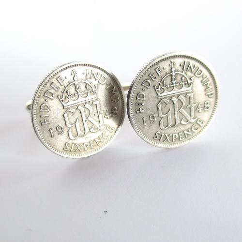 1948 Lucky Sixpence Coin Cufflinks