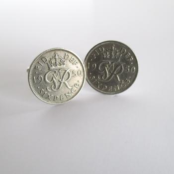 1950 Lucky Sixpence Coin Cufflinks