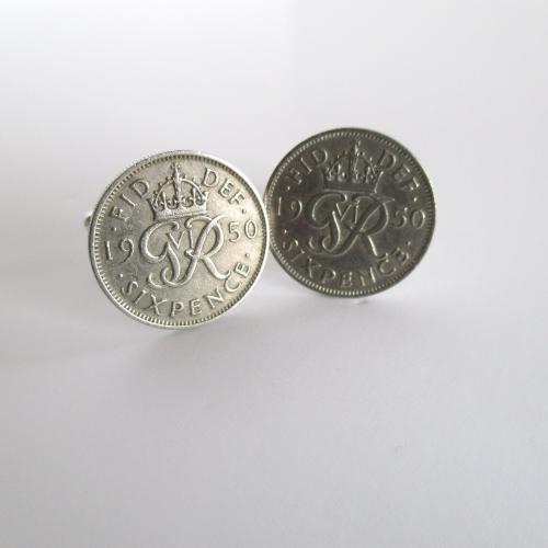 1950 Lucky Sixpence Coin Cufflinks