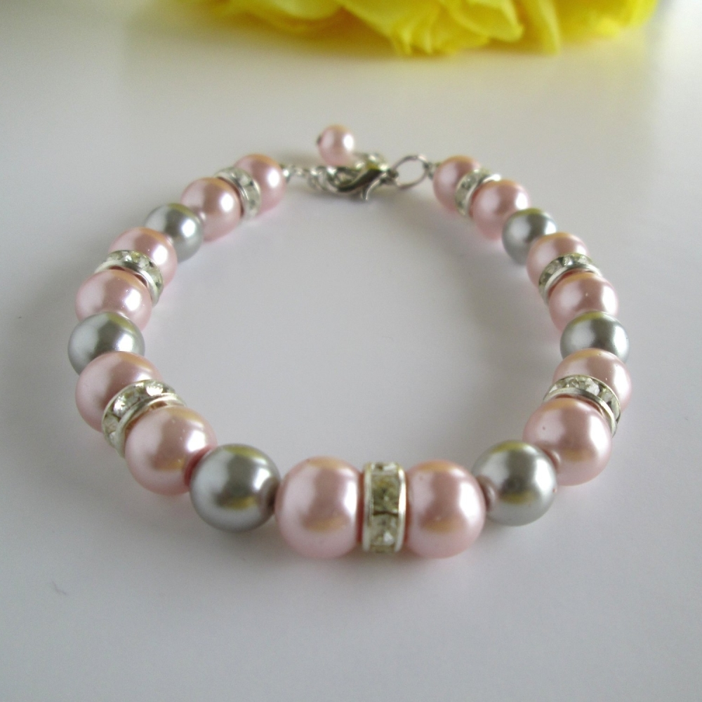 Pink and Grey Bridesmaid Bracelet
