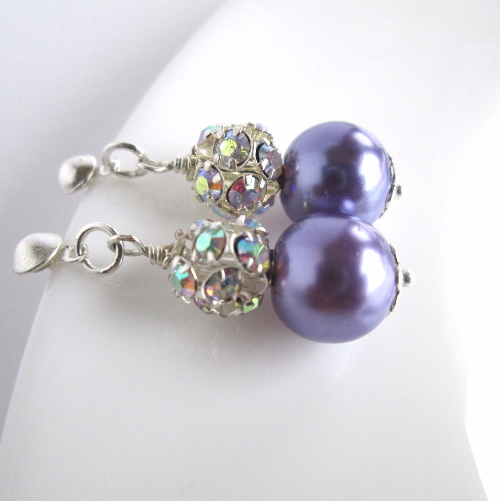 Purple Pearl Bridal Earrings