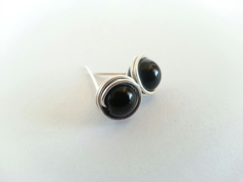 Black Wire Wrapped Stud Earrings