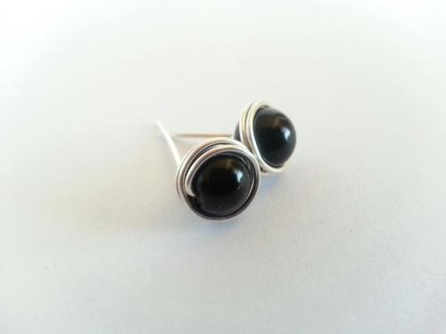 Black Wire Wrapped Stud Earrings