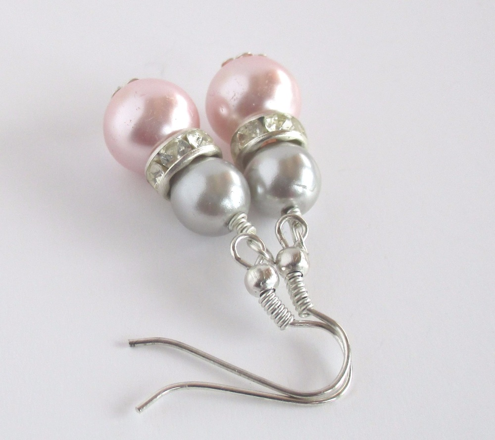 Pink and Grey Bridal Earrings
