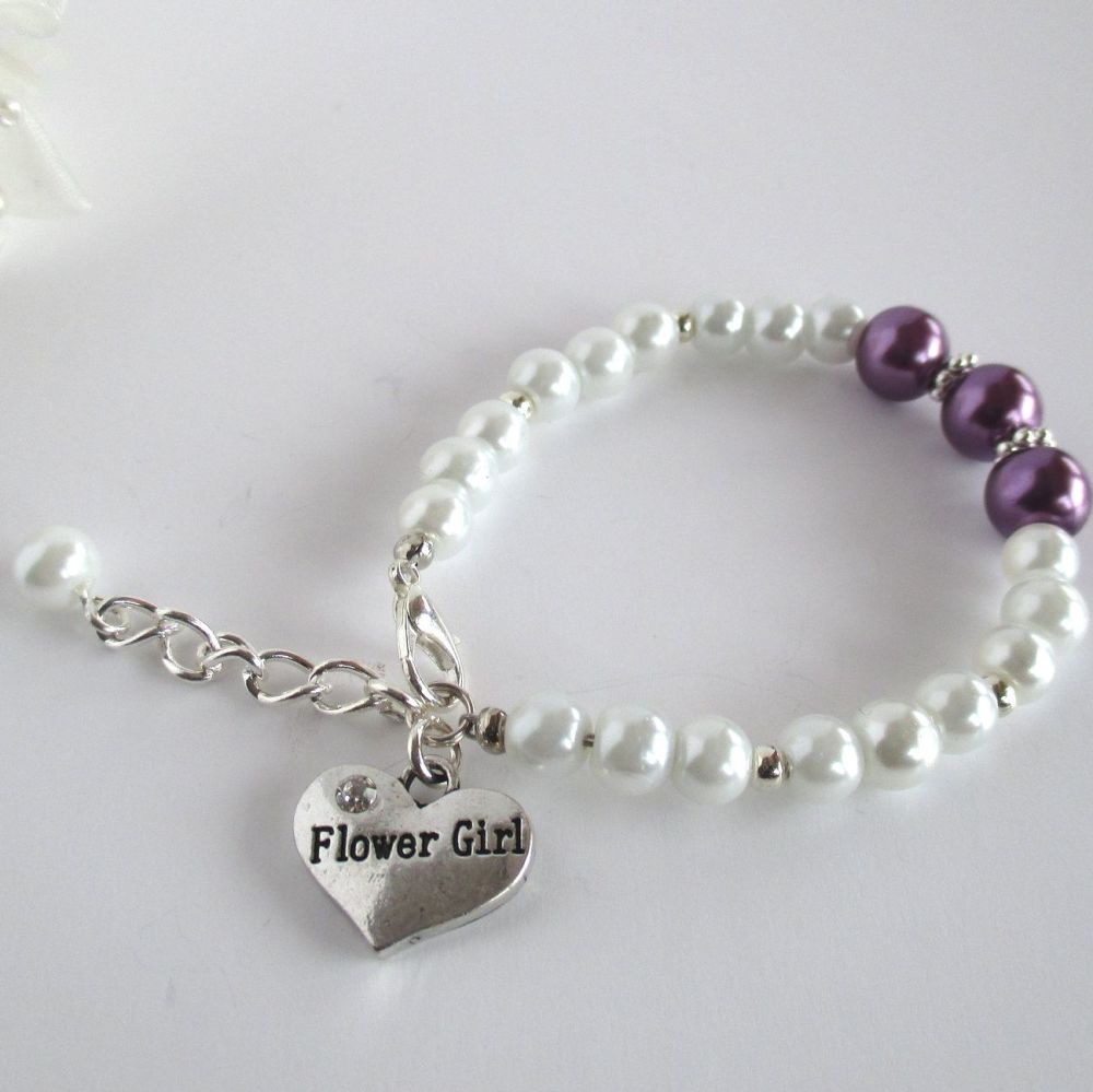 Pearl Flower Girl Bracelet