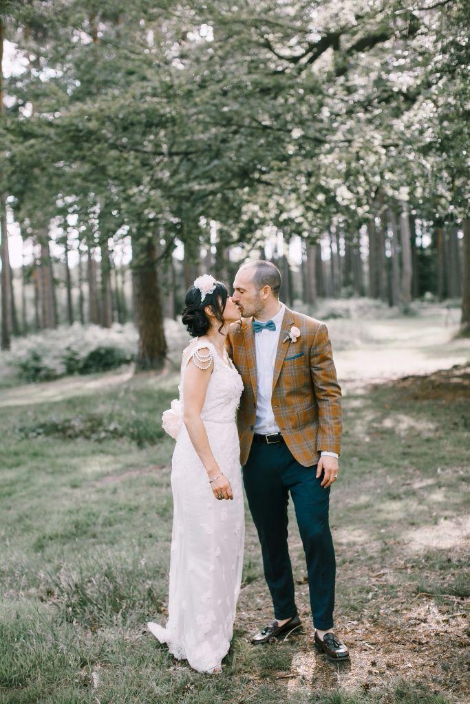 Boho bespoke pearl strap wedding gown