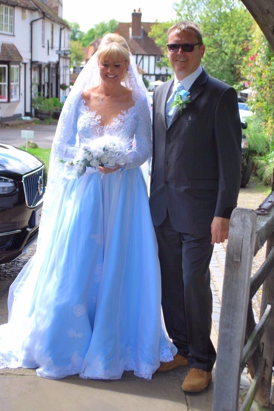 blue wedding dress illusion neck