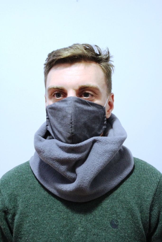 mens grey with mask