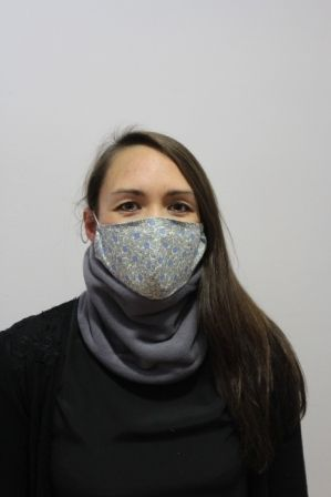 womens grey neckwarmer with mask