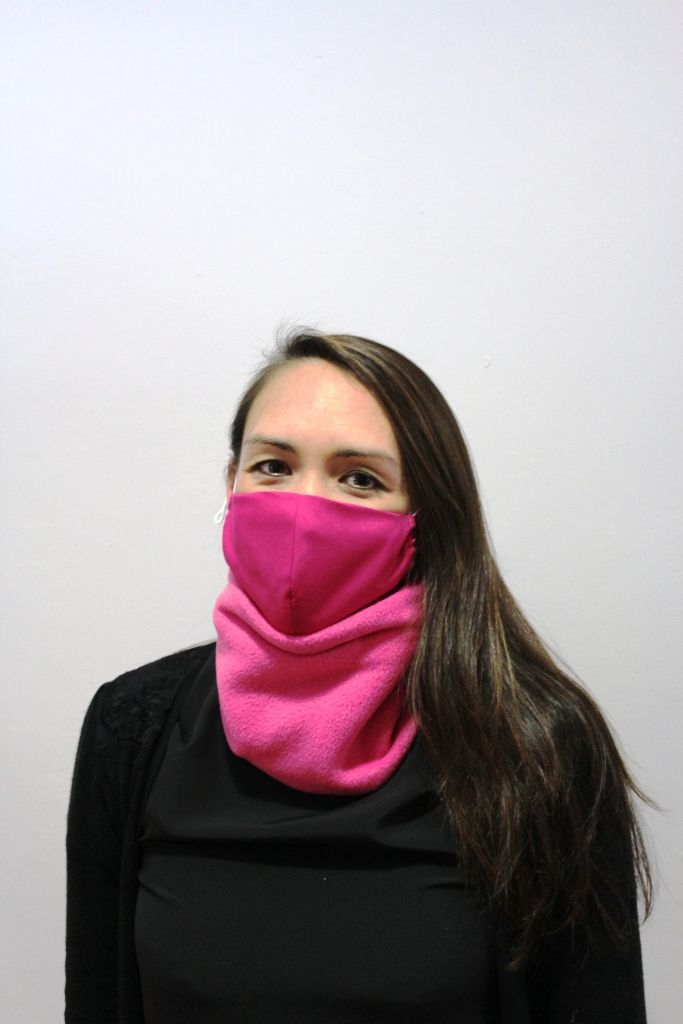 Cerise Neck Warmer with 2 x detachable masks