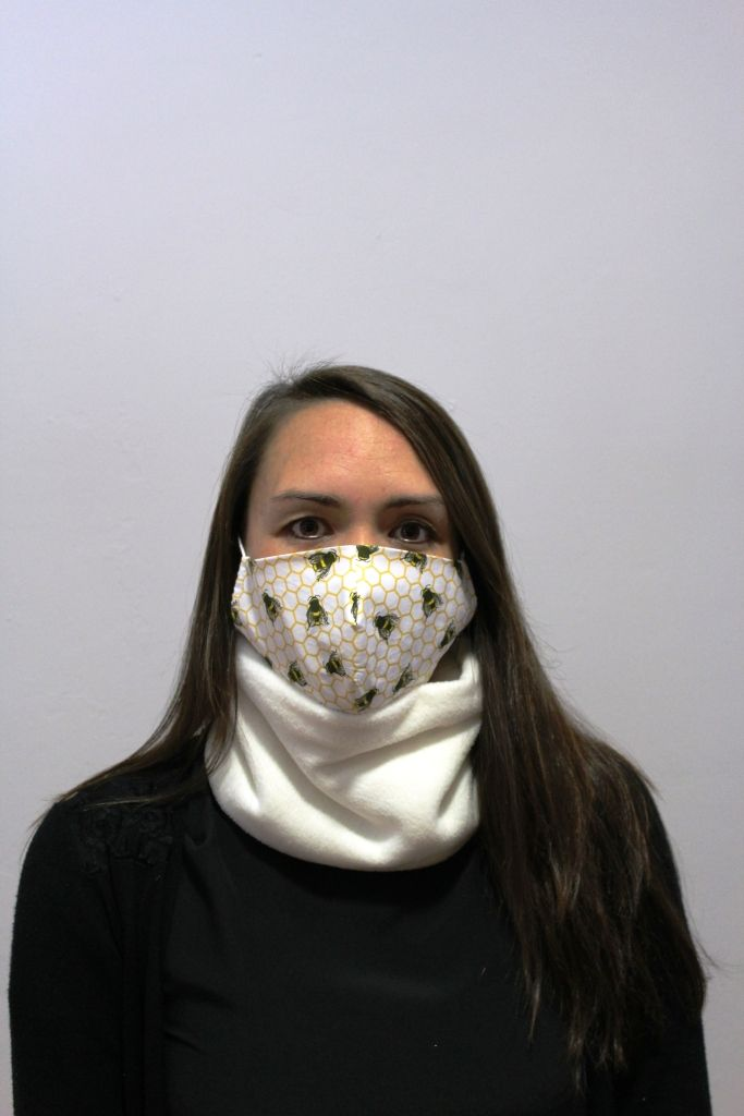 Cream Neck Warmer with 2 x masks