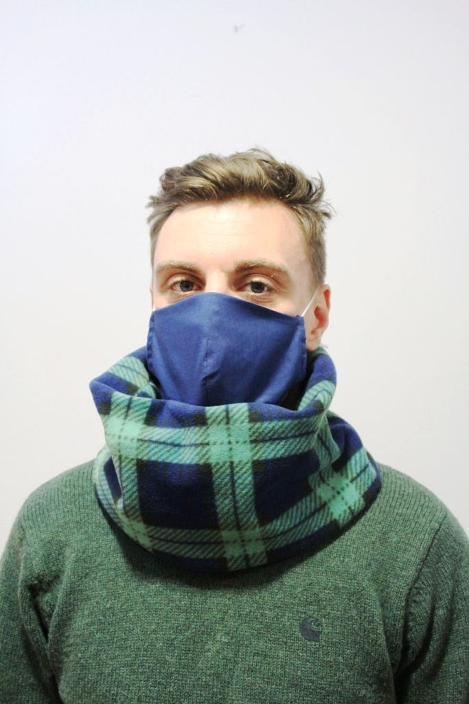 Unisex Green and Navy Check Neck Warmer with 2 x masks