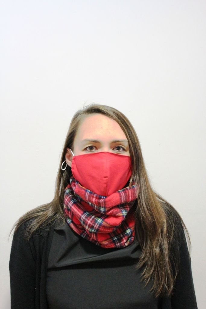 Red Tartan Neck Warmer with 2 x masks
