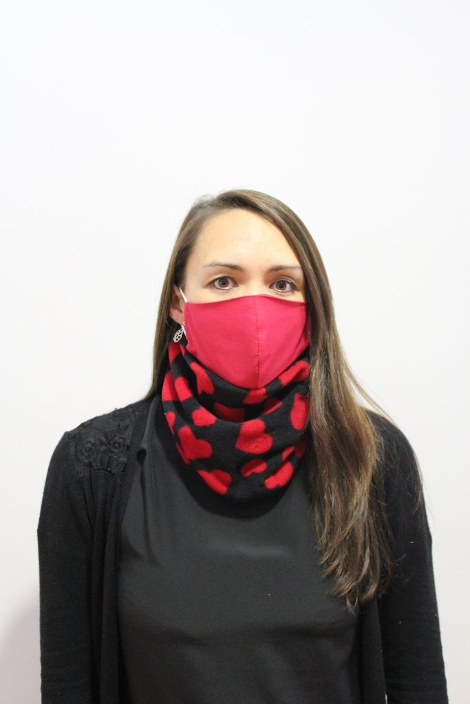 Black with Red Hearts Neck Warmer with 2 x masks