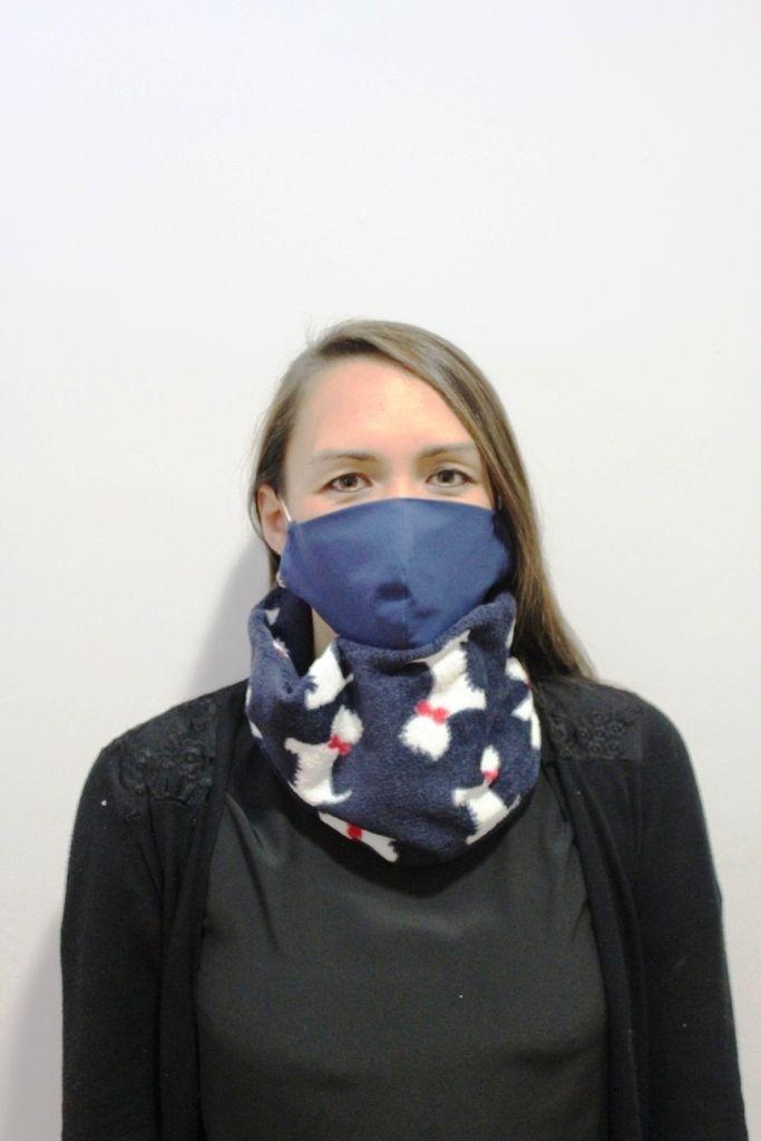 Navy Scottie Dog Print Neck Warmer with 2 x masks