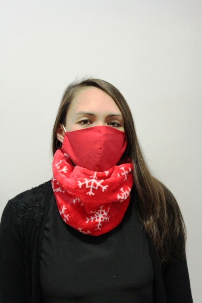Red Snowflake Neck Warmer with 2 x masks