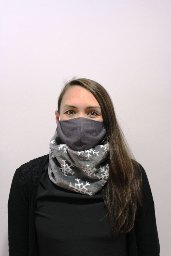 Grey Snowflake Neck Warmer with 2 x masks