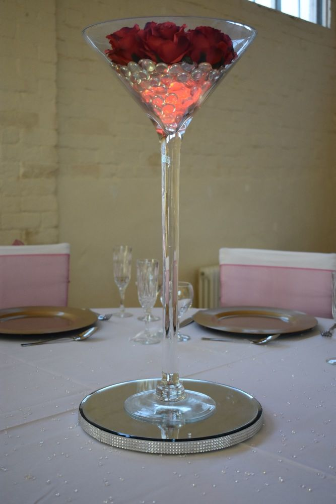 Martini vase on diamante mirror plate