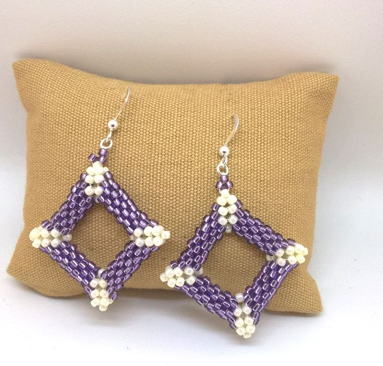 Earrings Peyote Square Purple 2