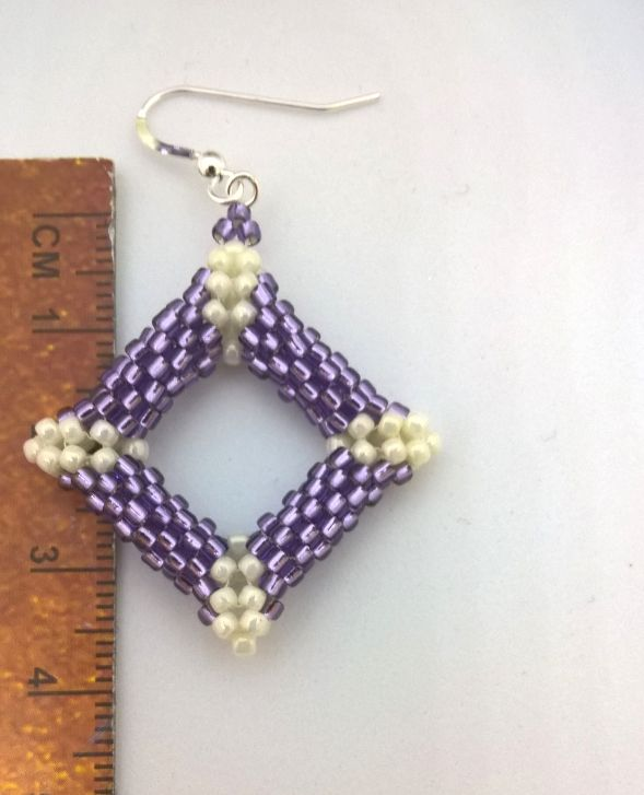 Earrings Peyote Square Purple 3
