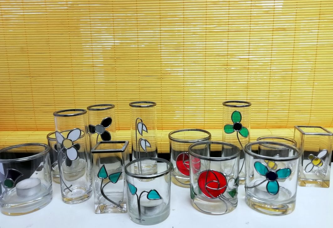 Selection of tea light holders and vases from Light and Colour Studio