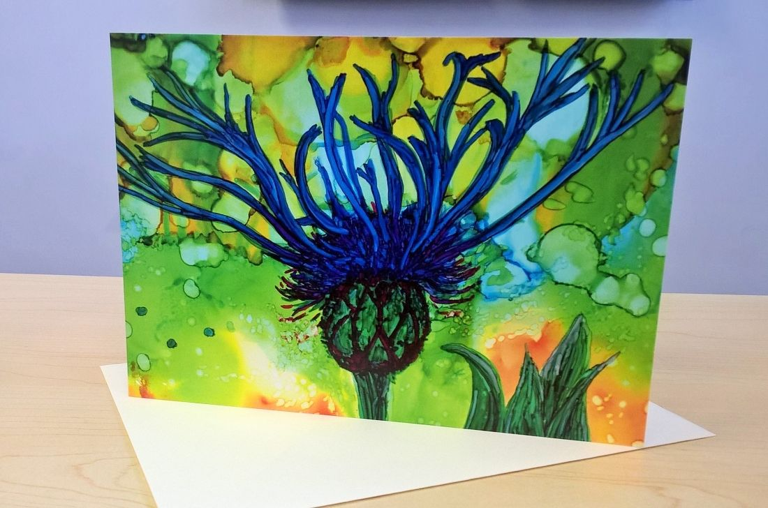 Blank art card Cornflower Alcohol inks