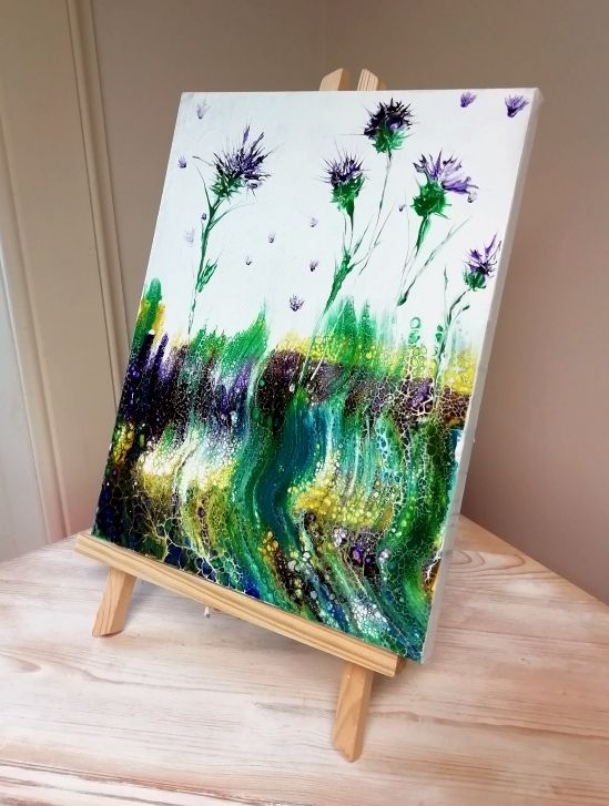 Dancing Thistles acrylic pour  by S Harford
