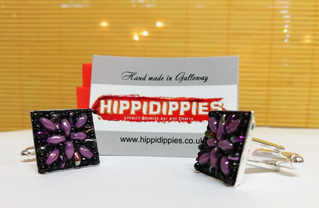 Cufflinks purple hand made superduo beads