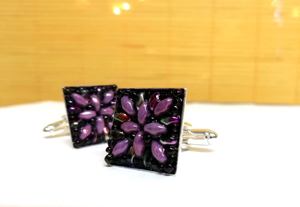Cufflinks silver plate superduo beads hand stitched Purple AB
